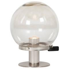 Spherical Glass and Nickel Table Lamp, German, 1960s