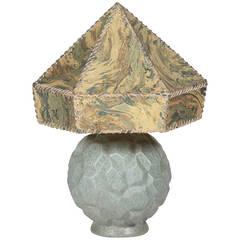 Pale Blue Ceramic Vase in Marbled Paper Shade, German 1930s
