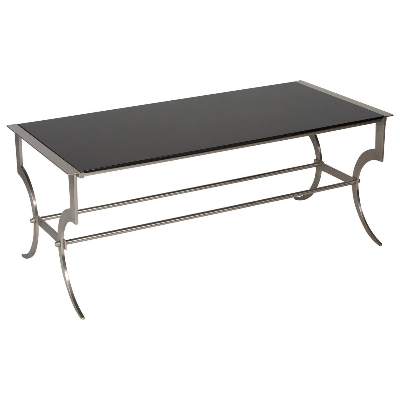 Black glass coffee table by maison jansen 1960s at 1stdibs for Black glass coffee table