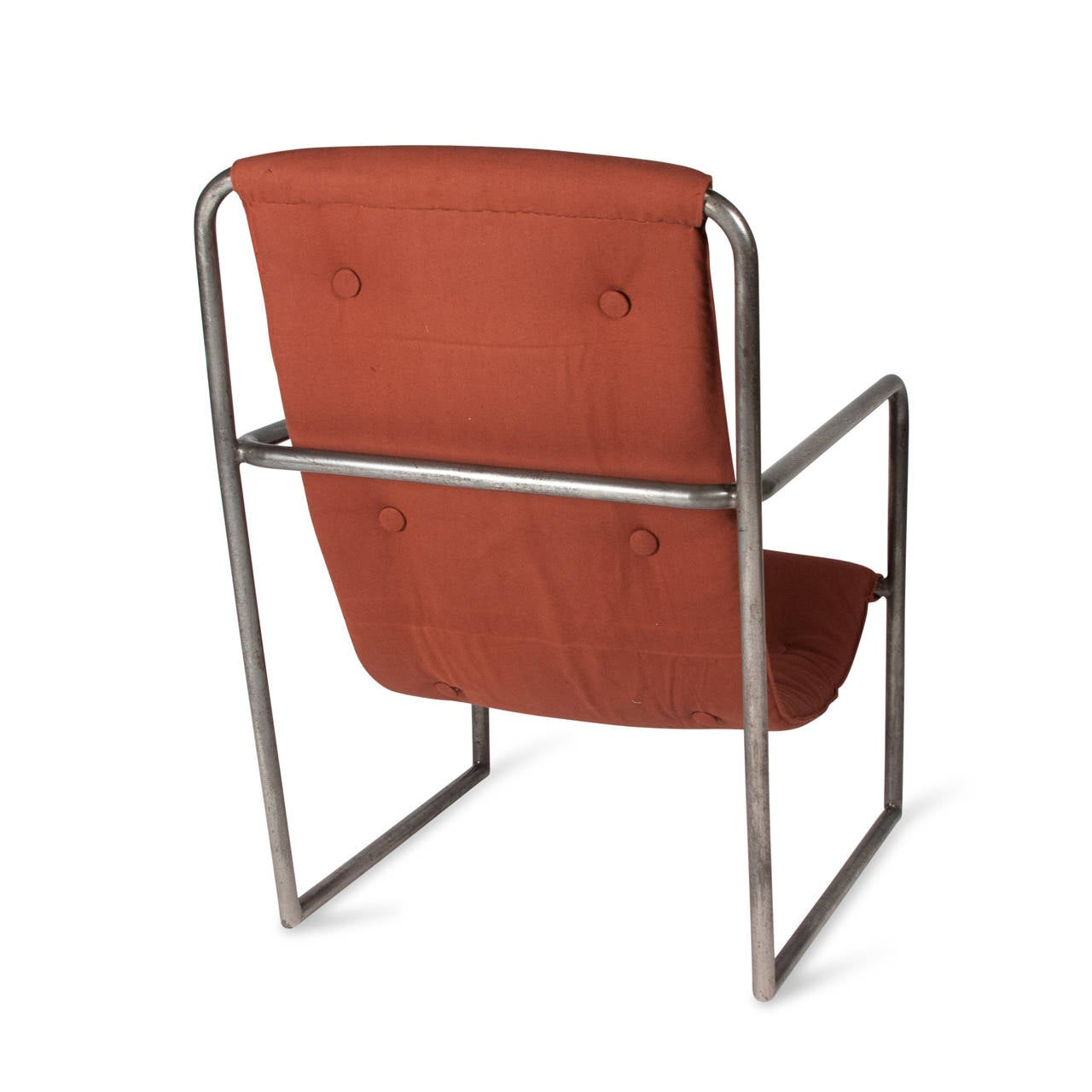 Modernist steel tubular metal and canvas occasional chair france