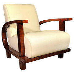 Single Upholstered Armchair on Curved Base, German, circa 1930