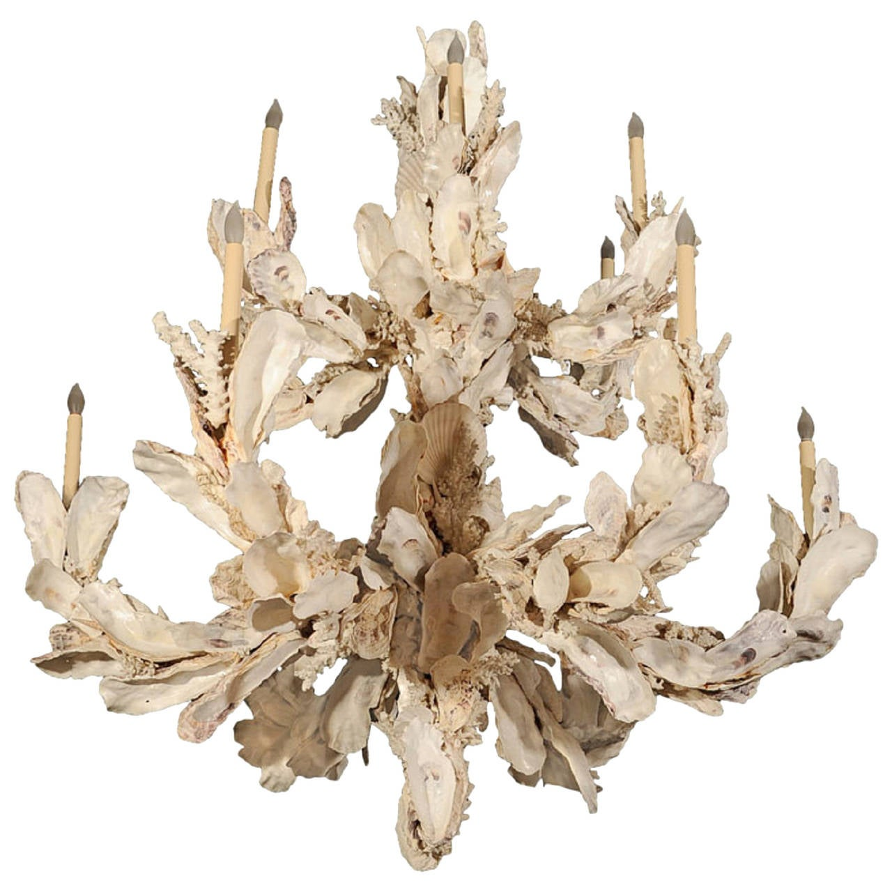 Oyster Shell Twelve Arm Chandelier French 1980s For Sale