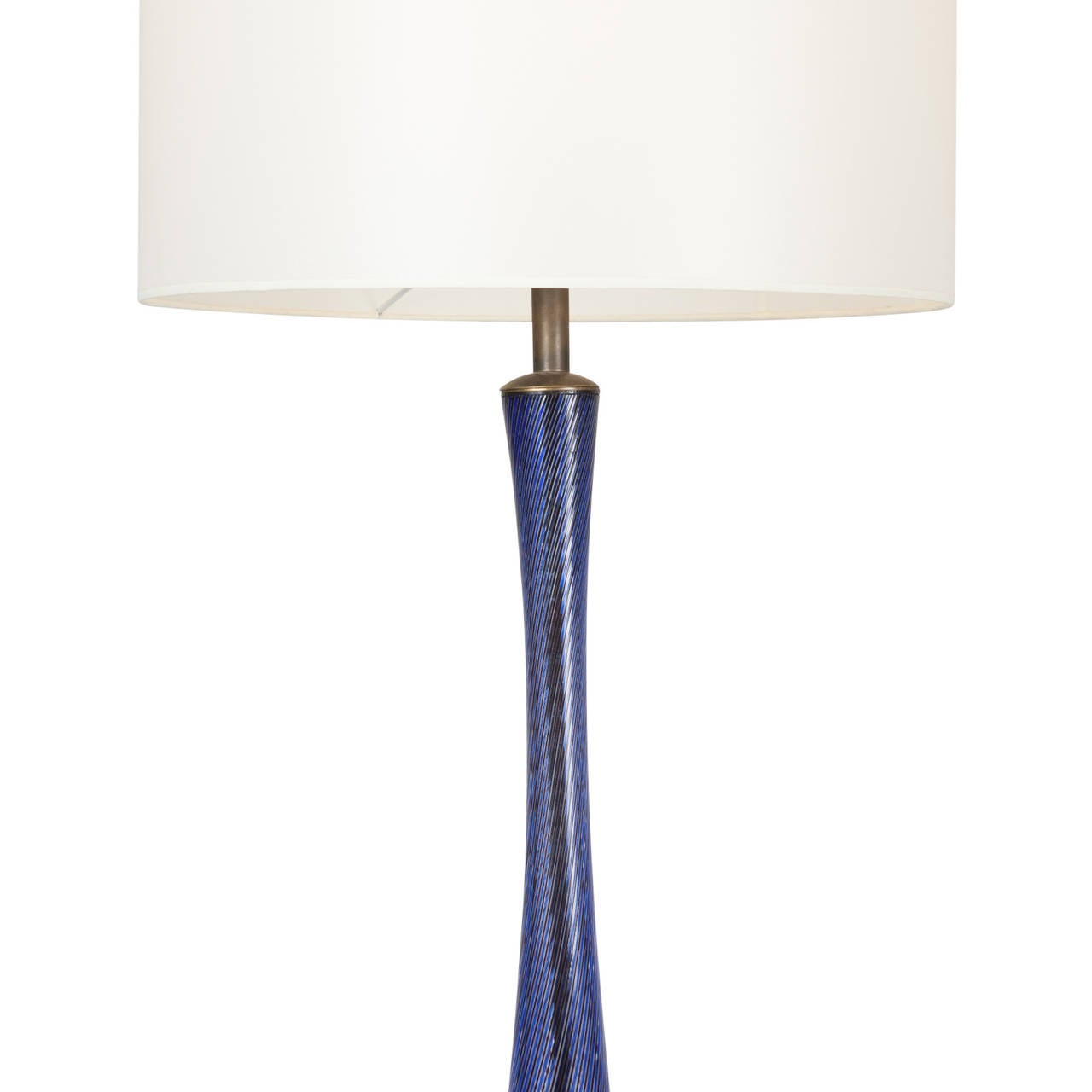 Tall Dark Blue Filigrana Glass Table Lamp By Venini
