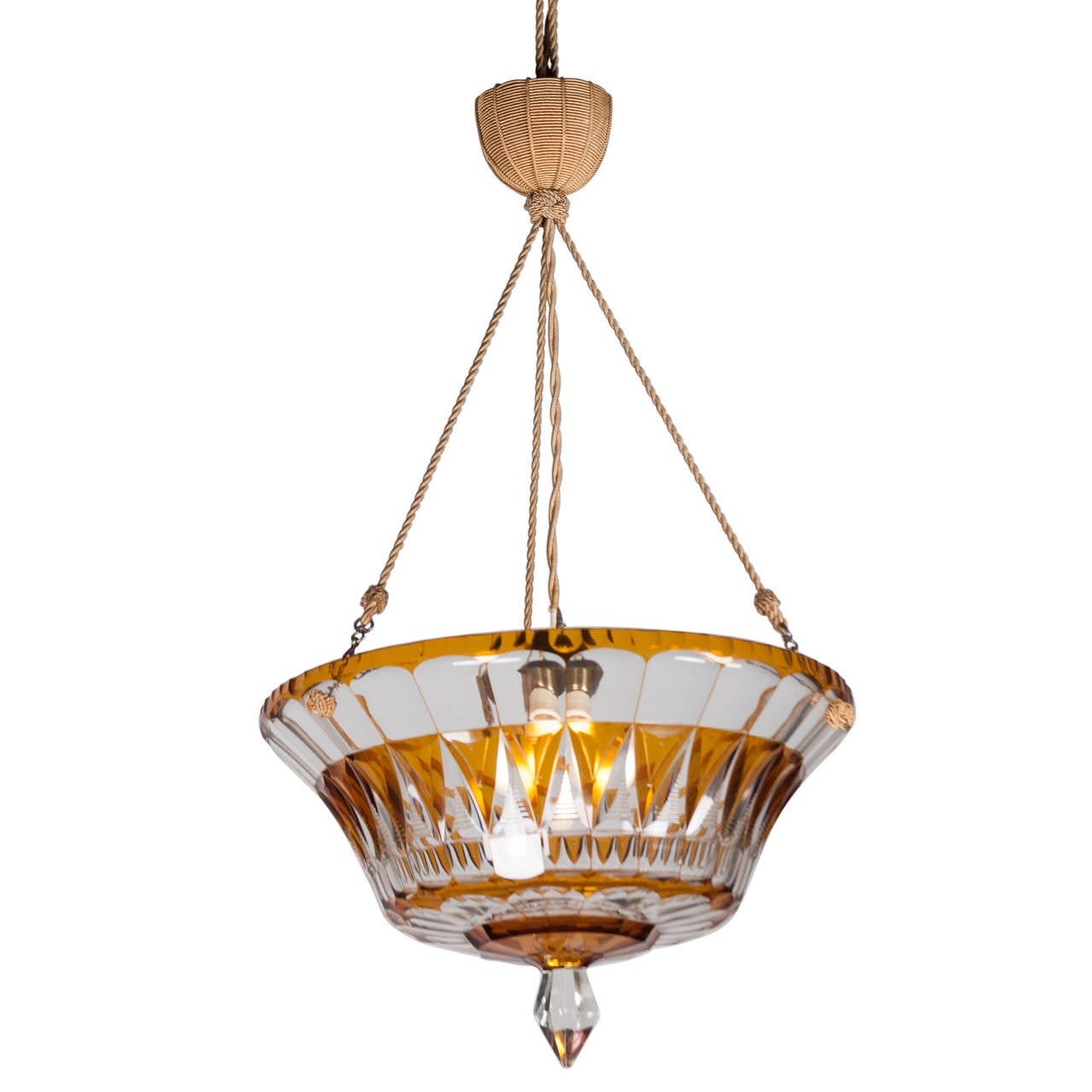 This Crystal Chandelier with Twisted Cord Suspension, French, 1930s is ...