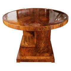 Cubist circular burl wood occasional table