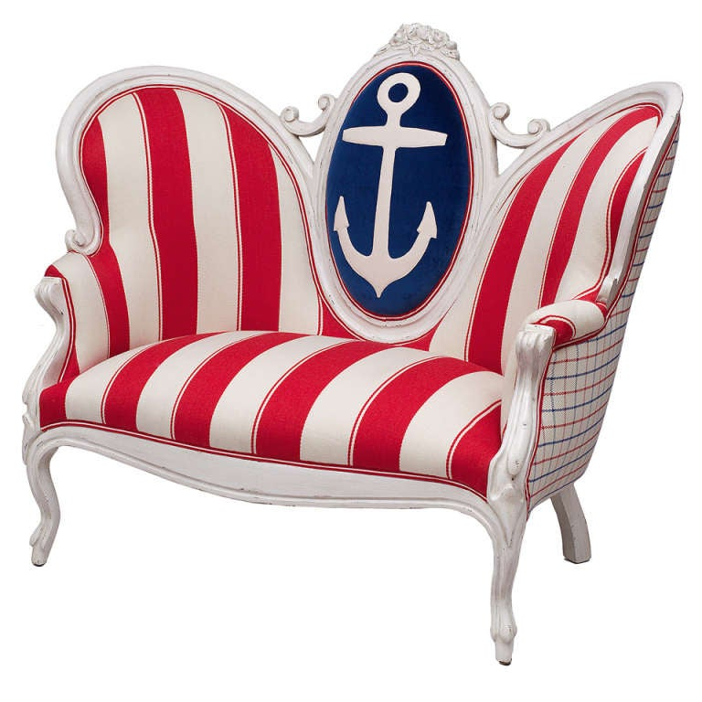 Victorian Anchor and Stripe Settee 1