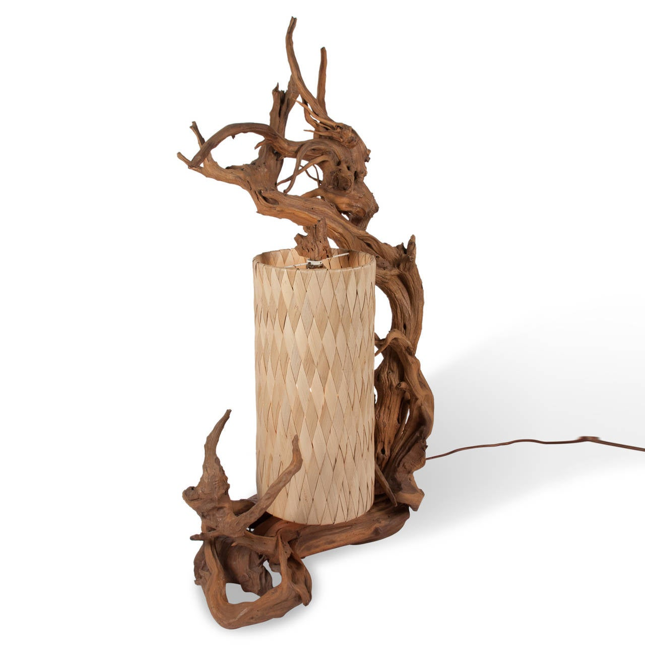 sculptural driftwood table lamp with fabric shade puerto rico 1950. Black Bedroom Furniture Sets. Home Design Ideas