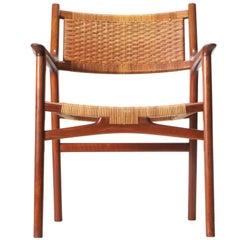 Teak and Cane Armchair by Hans Wegner