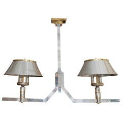 Polished Nickel Two-Arm Linear Chandelier