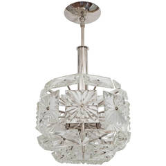 Chrome Pendant Ceiling Fixture with Faceted Glass Elements by Kalmar