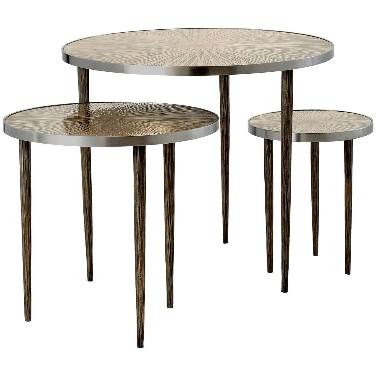 Nesting Tables Astres Set Of Three Nesting Tables By Franck Chartrain At 1stdibs