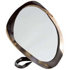 "Aldus, ""Devil"", Patinated and Polished Bronze Table Mirror, Italy, 2013"