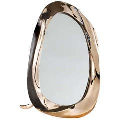 "Aldus, ""Angel"", Gilt and Polished Bronze Table Mirror, Italy, 2013"