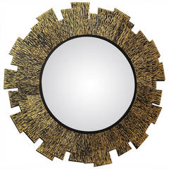 "Franck Chartrain ""Flamme"", Bronze Wall Mirror, France, 2014"