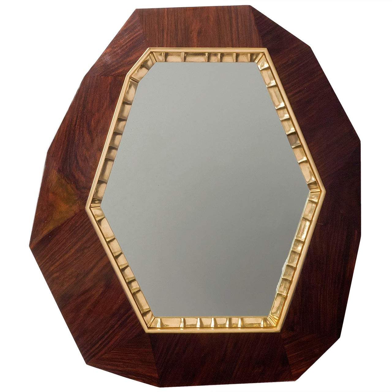 """Achille Salvagni, """"Lucy"""", Oak and Bronze Wall Mirror, Italy, 2014"""