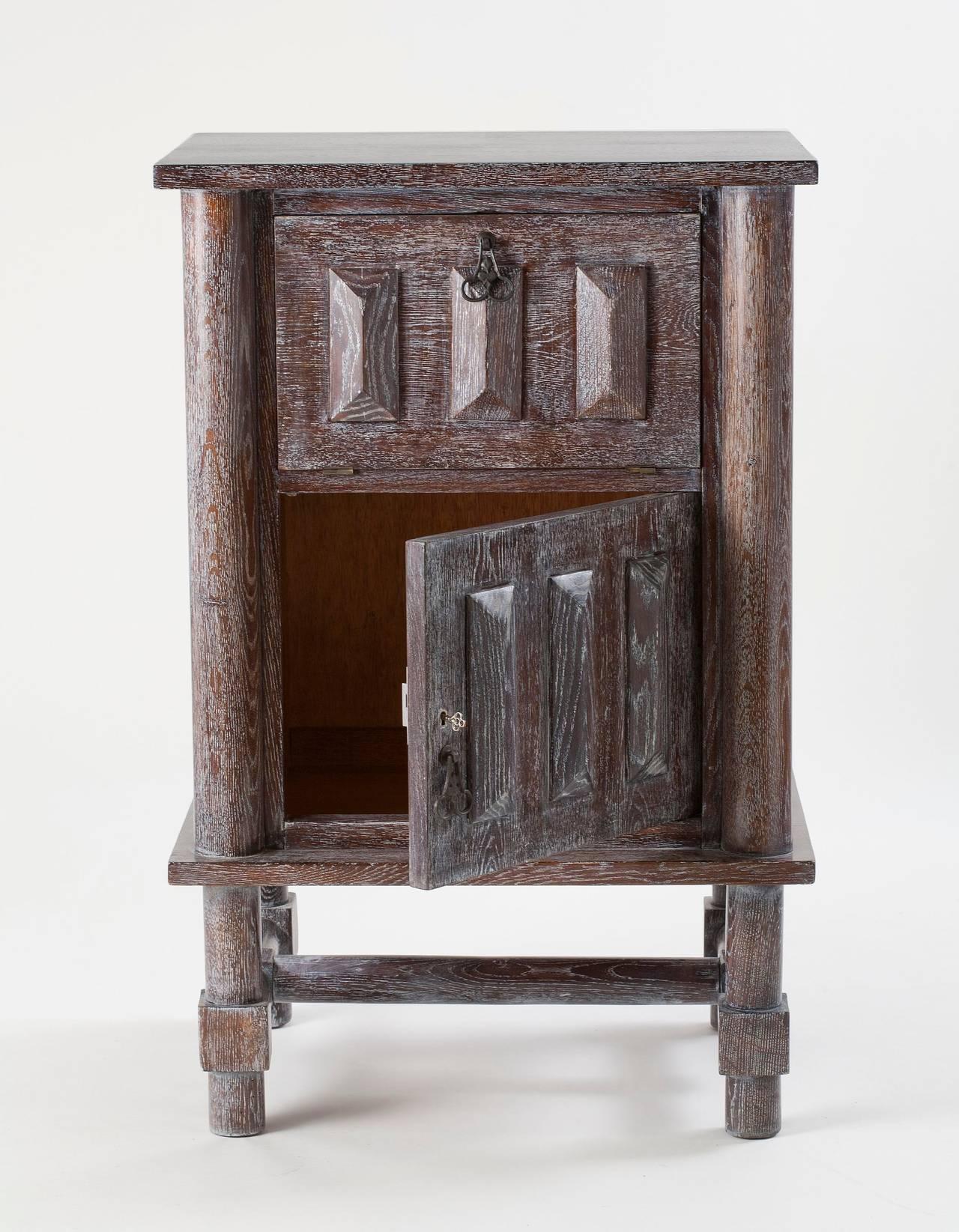 French Jacques Adnet, Limed Oak Cabinet, France, C. 1946 For Sale
