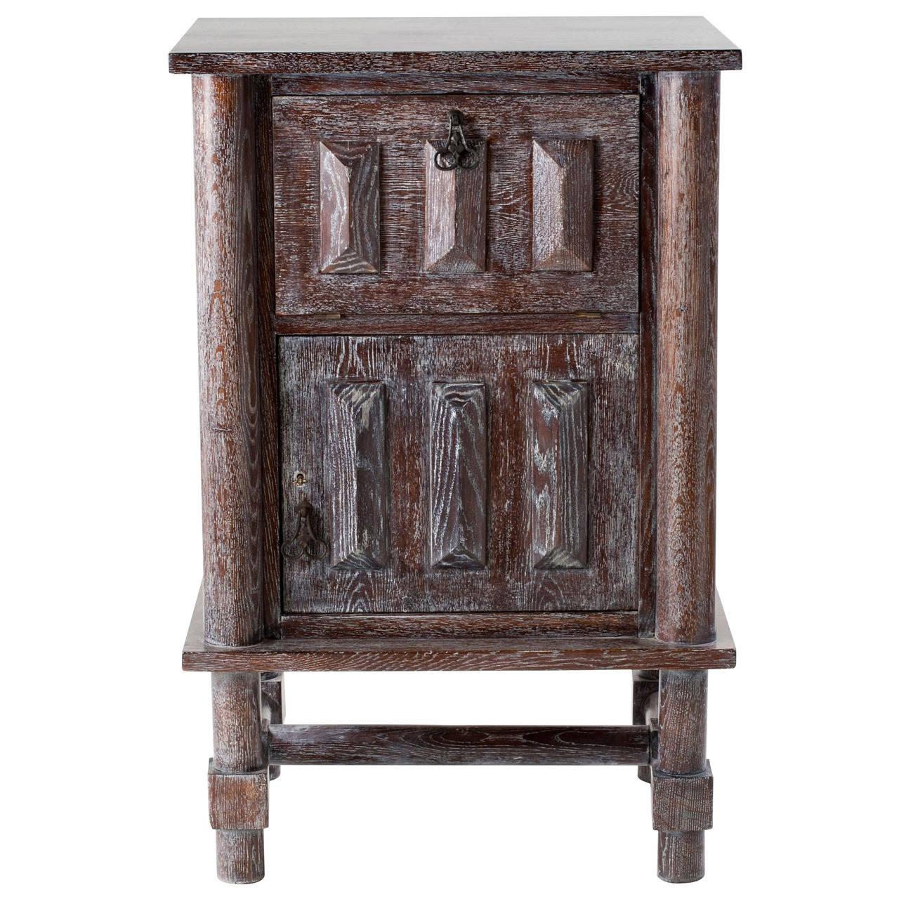 Jacques Adnet, Limed Oak Cabinet, France, C. 1946 For Sale