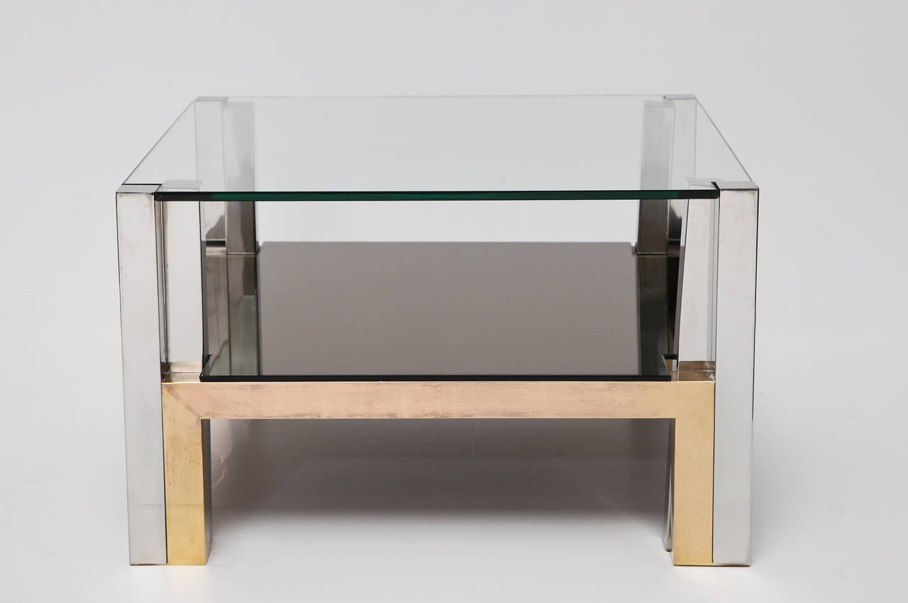 Pair Of Chrome And Glass Coffee Tables By Nucci Valsecchi At 1stdibs