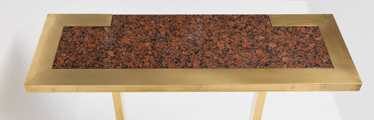 Nucci Valsecchi, Brass and Granite Console, Italy, C. 1970 In Good Condition For Sale In New York, NY