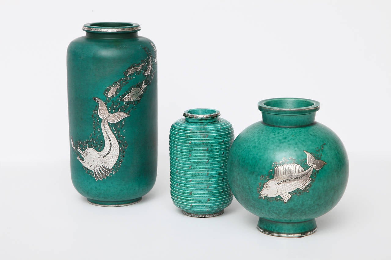 Art Deco Gustavsberg & Wilhelm Kåge, Glazed Stoneware and Silver Vase, Sweden, C. 1930 For Sale
