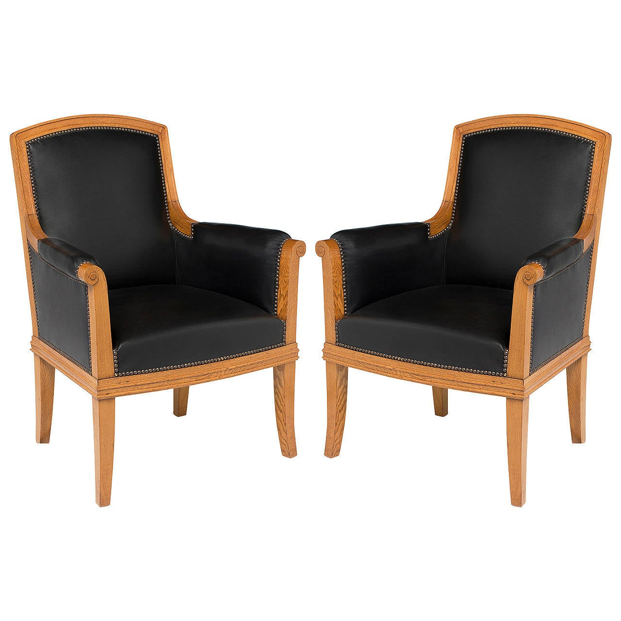 Louis Süe, Pair of Oak and Leather Armchairs, France, C. 1940