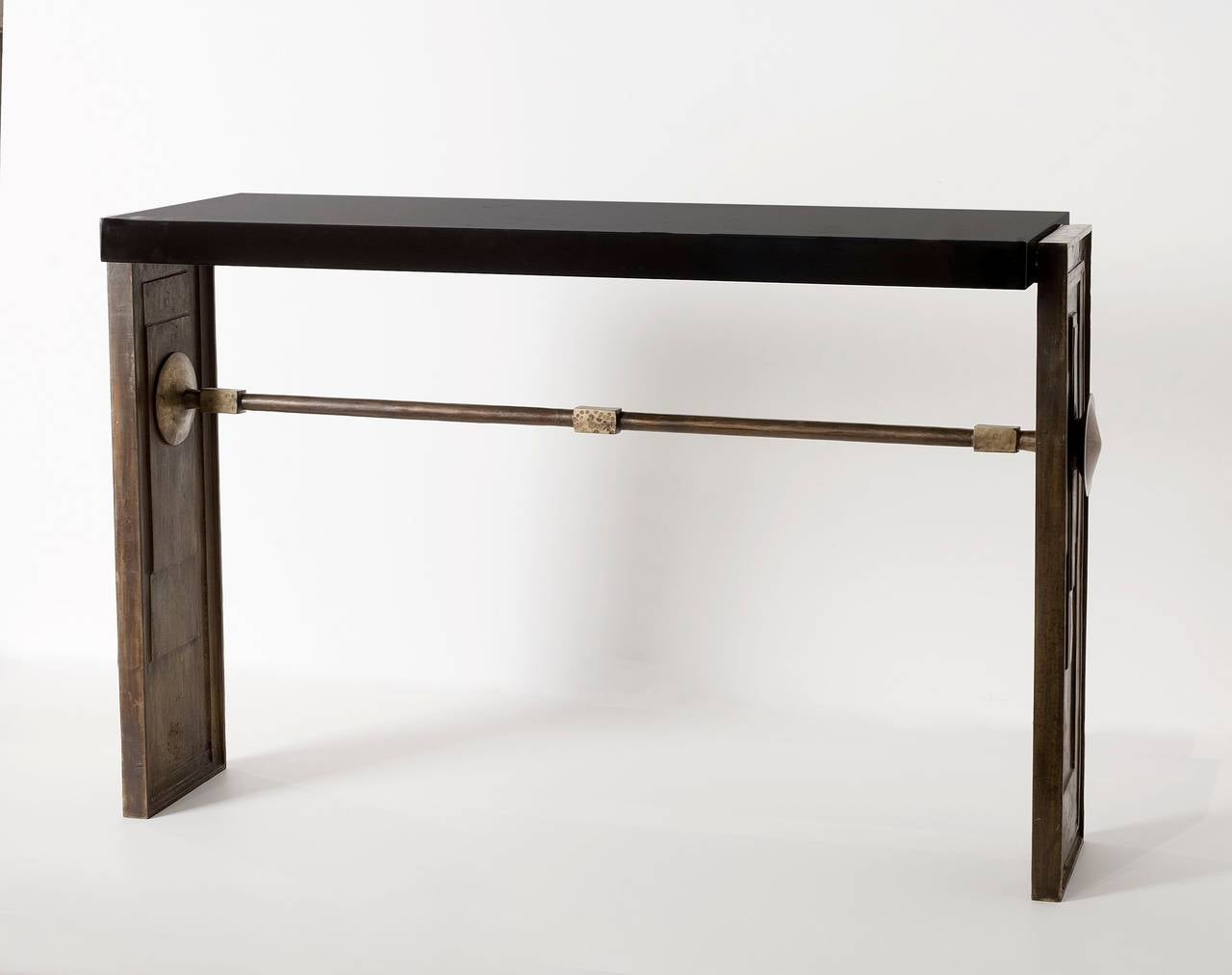 Mid 20th century bronze and lacquer console at 1stdibs for Mid 20th century furniture