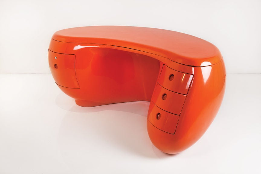 """Boomerang"" desk designed by Maurice Calka for Leleu.  Marked:"
