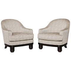 Pair of Ebonized Armchairs by Paul Follot