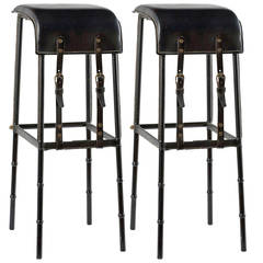 Pair of Leather Bar Stools by Jacques Adnet