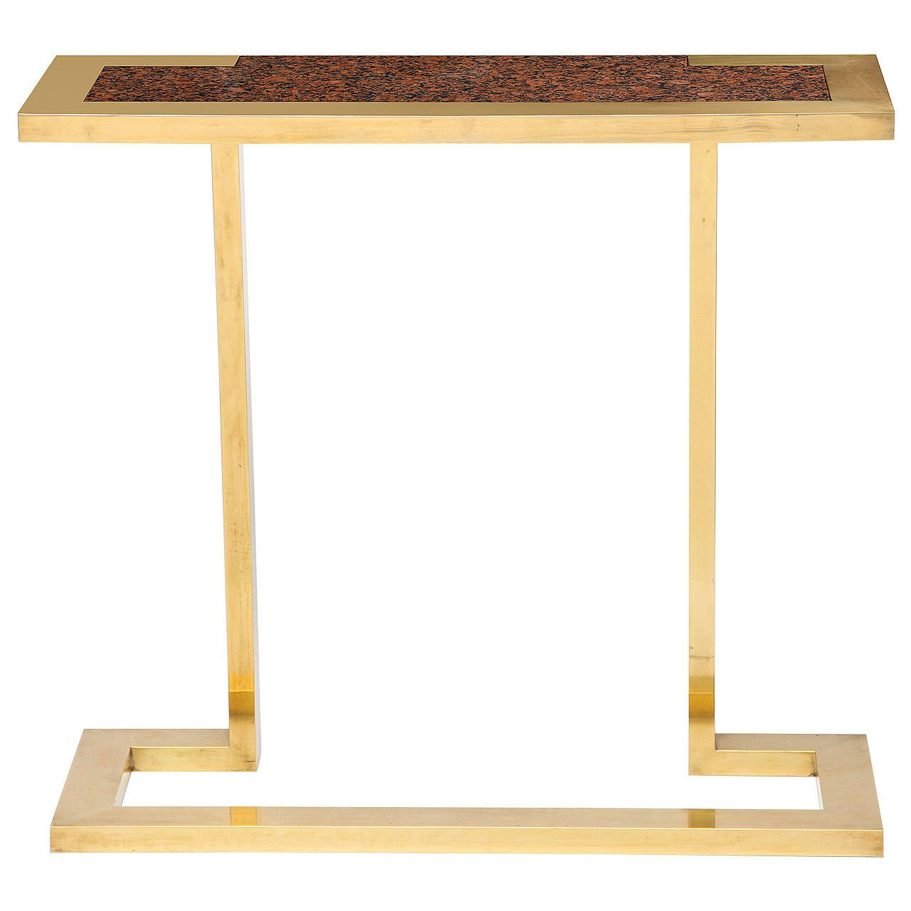 Nucci Valsecchi, Brass and Granite Console, Italy, C. 1970 For Sale