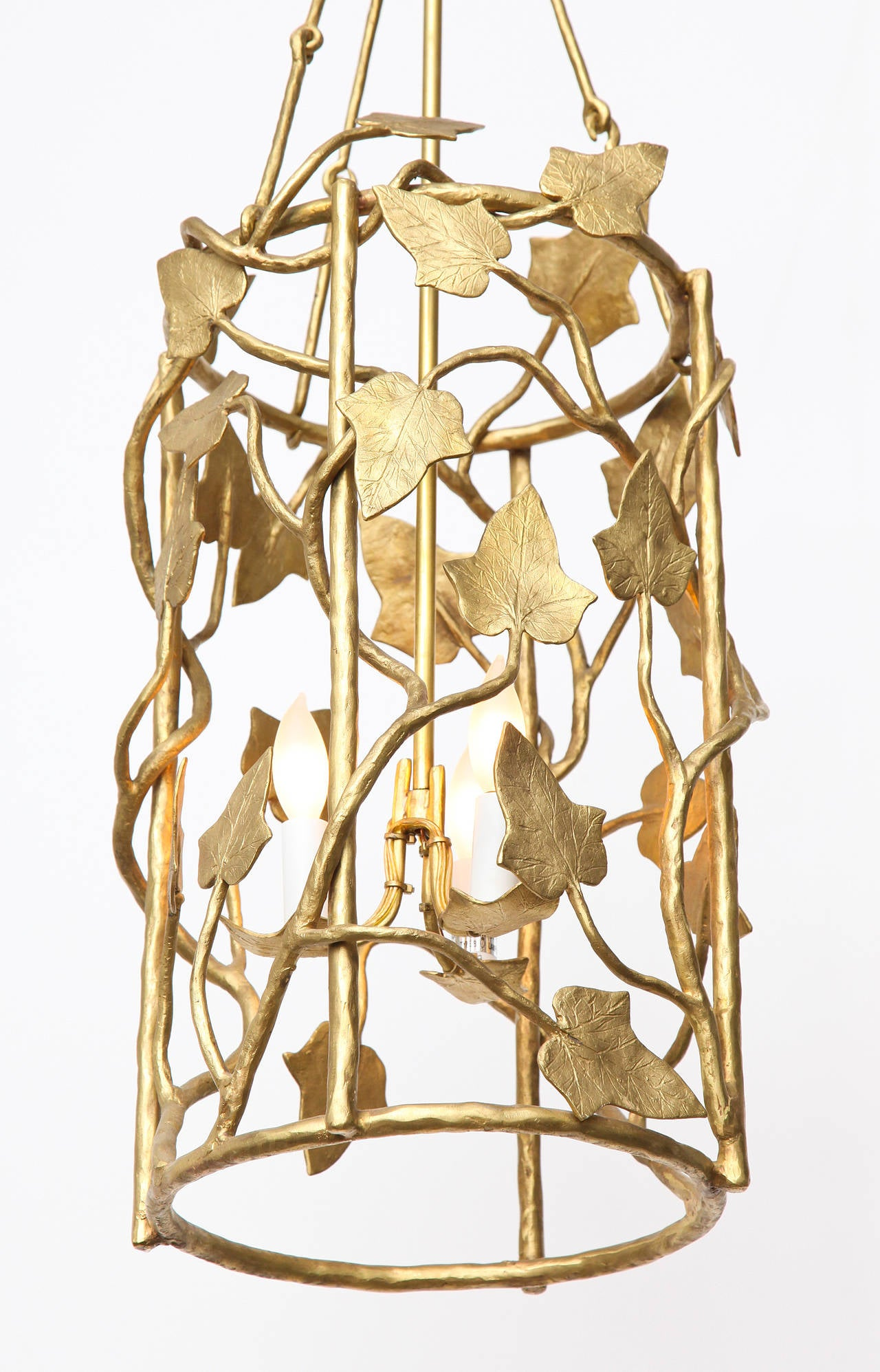 Polished bronze lantern by Marc Bankowsky.  Overall drop: 35'' Diameter of cylinder: 11'' Height of cage (cylinder): 19'' Height of canopy: 5.25
