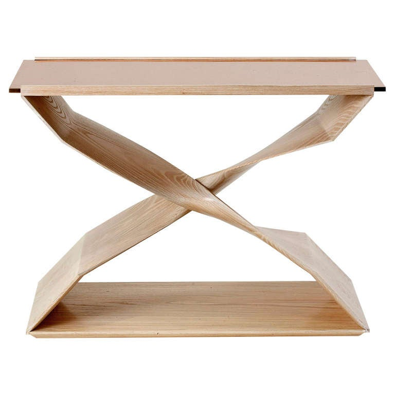 Carol Egan, Hand-Carved Limed Oak Side Table, USA, 2014