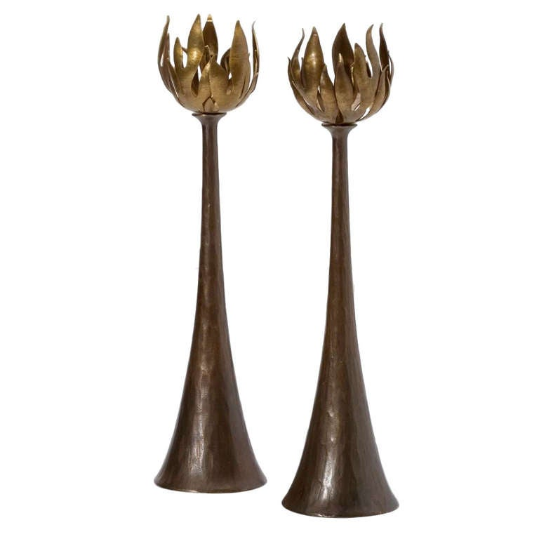 Flames candlesticks, new, originally designed in 2010, offered by Maison Gerard