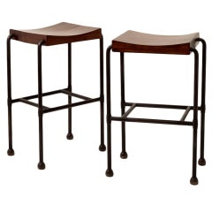 Fine and Rare Pair of Tall Stools by Pierre Chareau