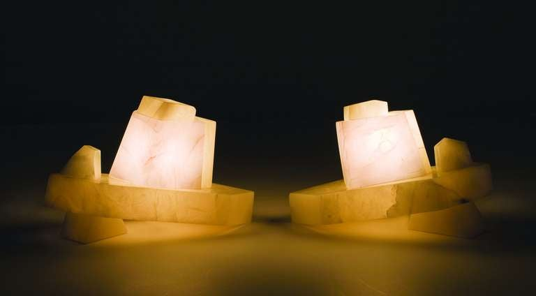 Hand-carved Alabaster table lamp by Stephen Downes  Two available, sold individually.