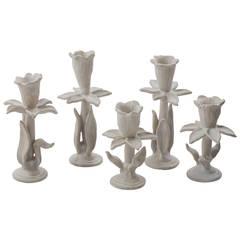 "Matthew Solomon, ""Narcissus"", Glazed Porcelain Candlesticks, USA, 2015"