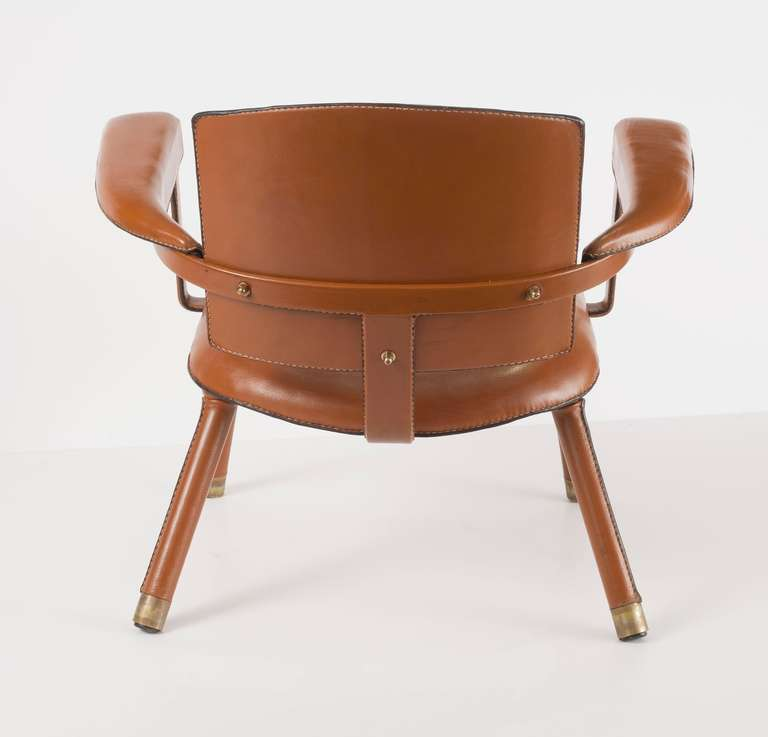 Jacques Adnet, Rare Leather Armchair, France, C. 1950 In Good Condition For Sale In New York, NY