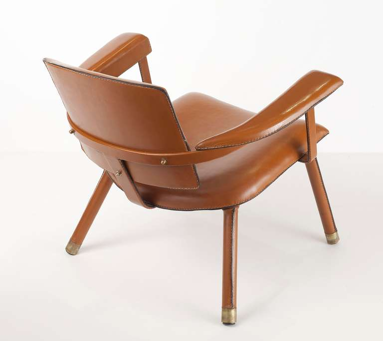 French Jacques Adnet, Rare Leather Armchair, France, C. 1950 For Sale