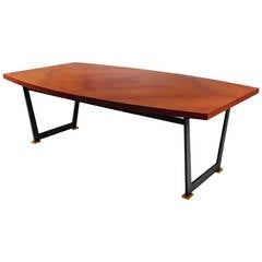 Maison Leleu, Mahogany Conference Table, France, C. 1965