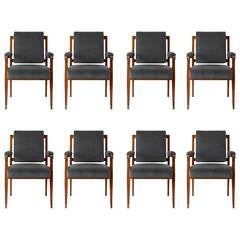 Set of Eight Dining Armchairs by Maison Leleu