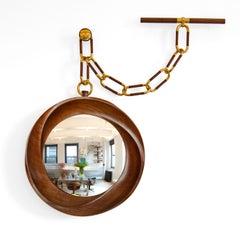 "Carol Egan, ""Montre à Gousset"", Carved Walnut Mirror, USA, 2013"