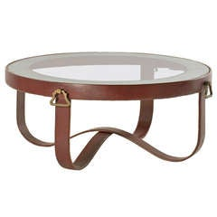 Fine and Rare Leather Coffee Table by Jacques Adnet