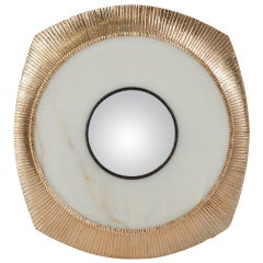"""Achille Salvagni, """"Iride"""", Onyx and Bronze Concave Wall Mirror, Italy, 2014"""