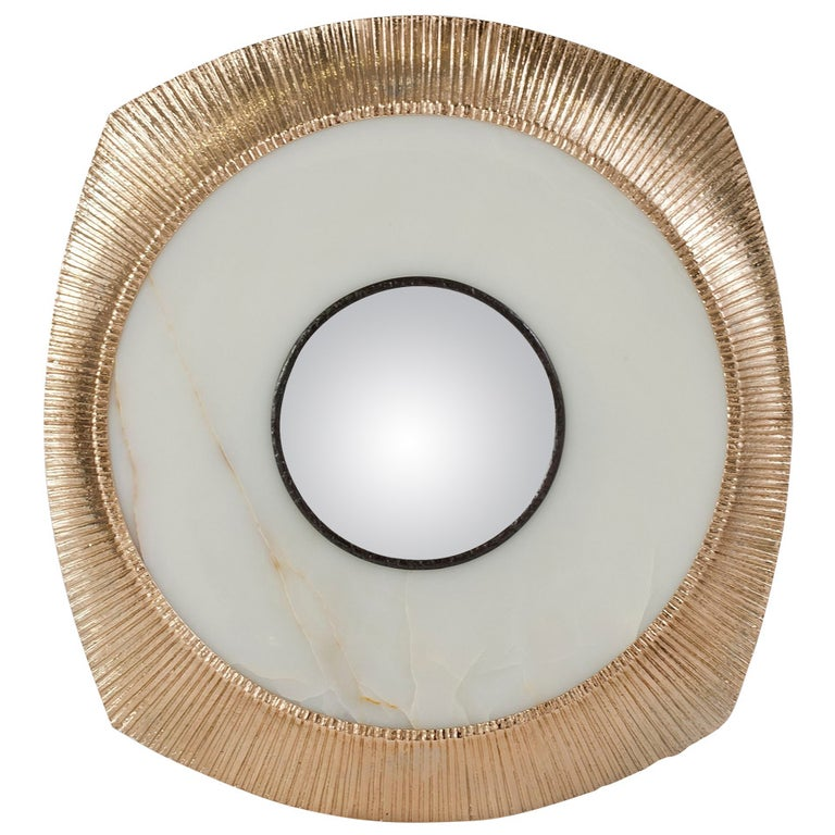 """Achille Salvagni, """"Iride"""", Onyx and Bronze Concave Wall Mirror, Italy, 2014 For Sale"""