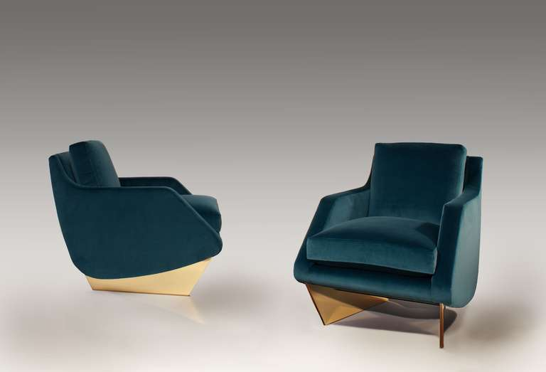 A companion to his well-known sofa, this fabulous armchair by architect William T. Georgis features an extra wide seat and rests on a pair of well-spaced, polished bronze legs.  May be made to order in COM fabric, with supports in a range of finish