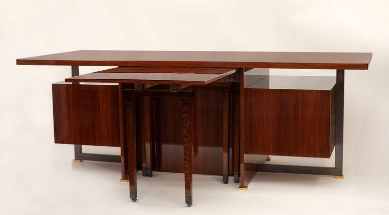 French Maison Leleu, Mahogany Conference Desk with Extension, France, 1966 For Sale