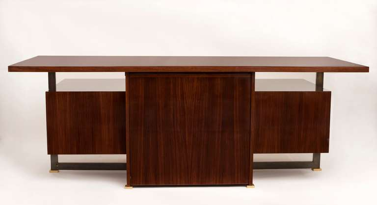 Mid-Century Modern Maison Leleu, Mahogany Conference Desk with Extension, France, 1966 For Sale