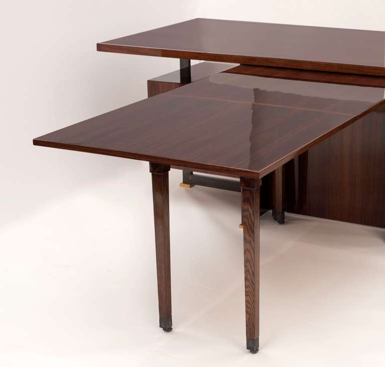 Maison Leleu, Mahogany Conference Desk with Extension, France, 1966 In Good Condition For Sale In New York, NY