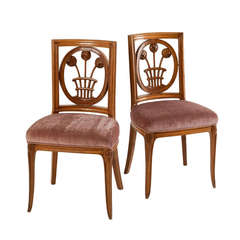 Fine and Rare Pair of  Early Art Deco Chairs by André Groult
