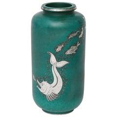Gustavsberg & Wilhelm Kåge, Glazed Stoneware and Silver Vase, Sweden, C. 1930